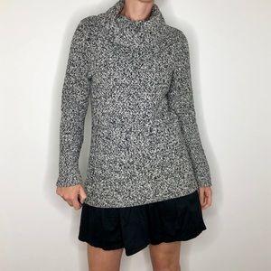 Dana Buchanan Cowl Neck Black White Woven Sweater